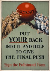 Put your back into it and help to give the final push. Sign the enlistment form / James Walker (Dublin) Ltd
